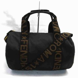Fendi vintage roma barrel nylon black bag